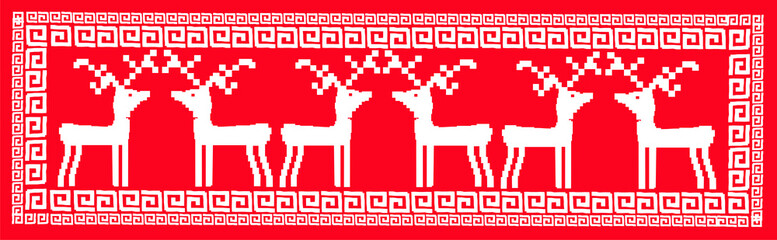 DEER - embroidery (retro winter style)