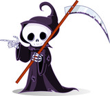 Cartoon grim reaper  pointing