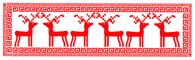 deer (retro style - norway - embroidery)