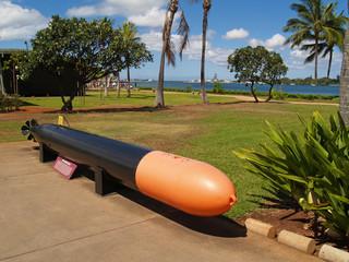 Black and Orange Torpedo Display at Pearl Harbor