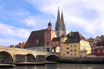Regensburg - Altstadt, Steinerne Brücke und Dom