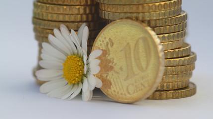 10 Cent Münze mit Blume III