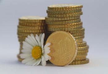 10 Cent Münze mit Blume V