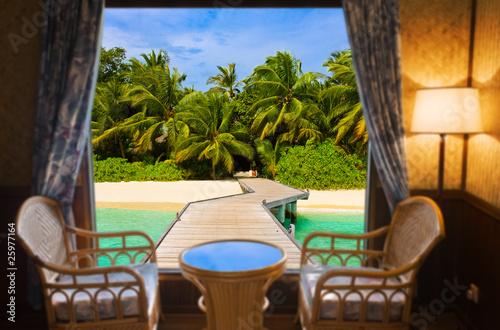 Obraz na Plexi Hotel room and tropical landscape