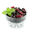 Bowl of chocolate coated cranberries