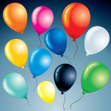 Set of isolated Brightly vector Balloons