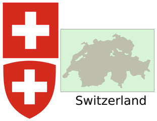 Switzerland flag national emblem map