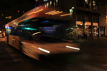 speeding bus blurred motion