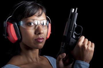 Woman at the shooting range