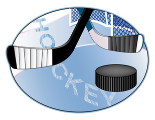 Ice hockey vector illustration with hooks and puck.