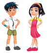 Boy and girl. Funny cartoon and vector teen characters.