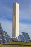 Renewable Green Energy Solar Tower Surrounded by Solar Panels poster