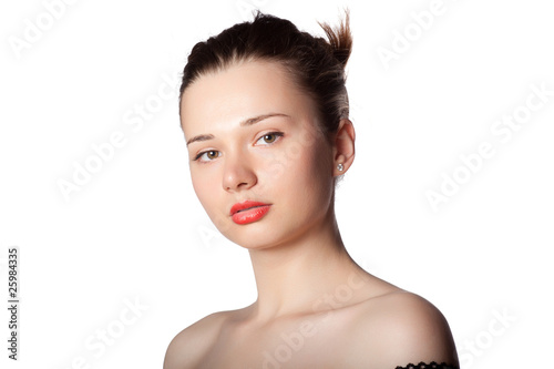 Young woman posing on a white background