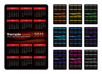Vector illustration. Calendar 2011. Design on black background.