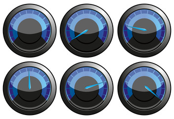 Set of blue speedometers, vector illustration