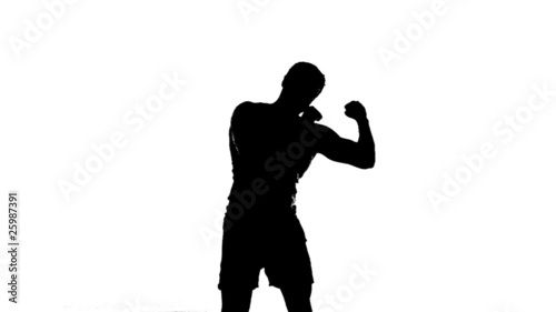 Silhouette of Man Shadowboxing