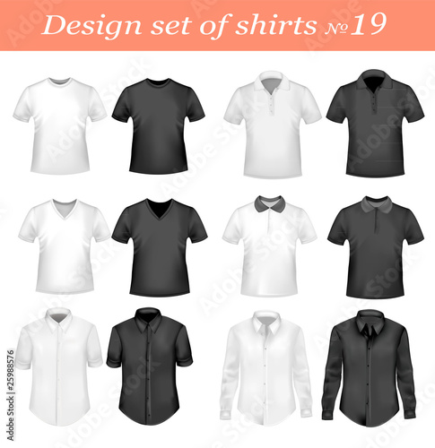 Ninetenth design shirt set. Vector.