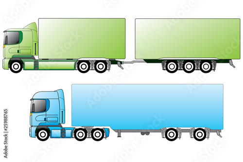 European trucks with different trailers
