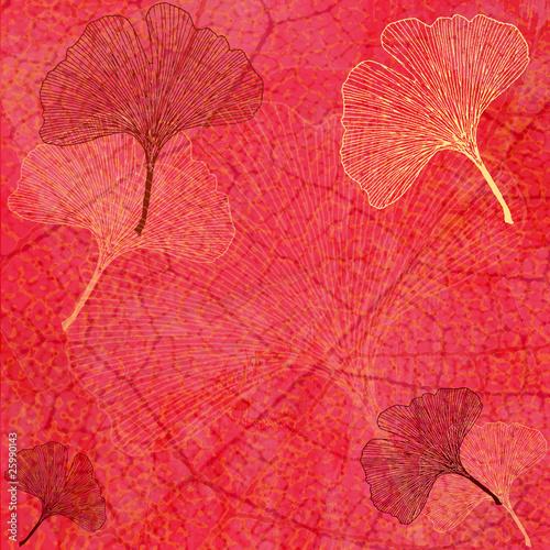 Fond Feuillage et Feuilles Ginkgo en Rouge - Illustration © Artellia