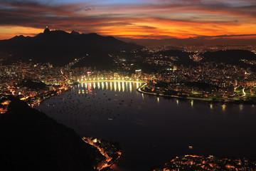 Rio de Janerio city night sunset