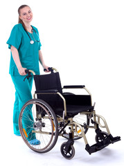 female doctor in green uniform with wheelchair
