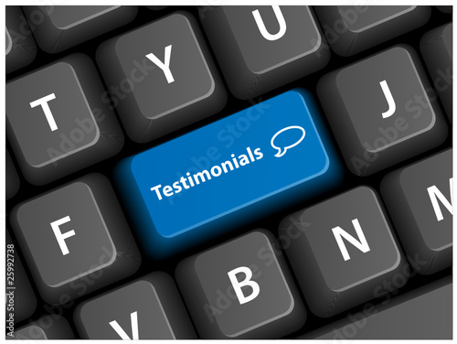 TESTIMONIALS Key on Keyboard (business speech bubbles button)