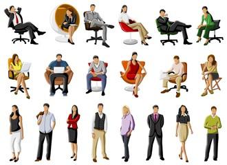 grupo de pessoas em cadeiras de escritório