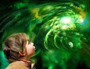 A child looks galaxy
