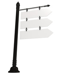 Blank signpost, isolated in white, 3d illustration