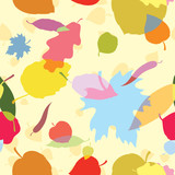 A seamless pattern with multicolor leaves