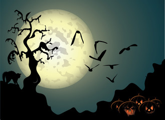 Halloween background with spooky tree and cat