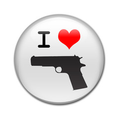 Boton brillante I LOVE pistola