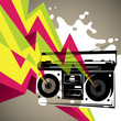 roleta: Artistic banner with retro radio silhouette.