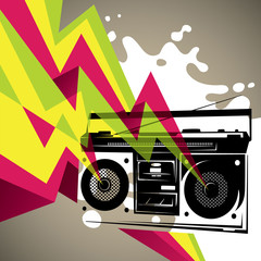 Artistic banner with retro radio silhouette.