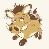 wildschwein eber keiler cartoon vintage