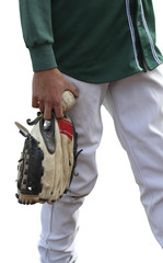 Isolated baseball player in green shirt