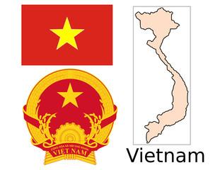 Vietnam flag national emblem map