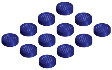 2011 calendar on blue glossy isometric buttons
