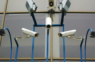 three cctv security cameras