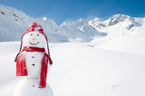 Happy snowman in mountain