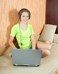 pretty   girl  with laptop