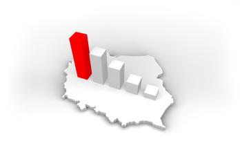 mapa polski - map of poland - procent - percent