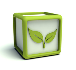 Eco green leaf cube