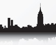 New York City skyline, black silhouette