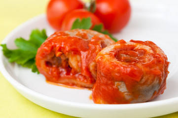 Herring fish roll in tomato sauce