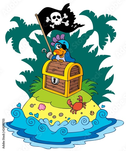 Staande foto Piraten Treasure island with pirate parrot