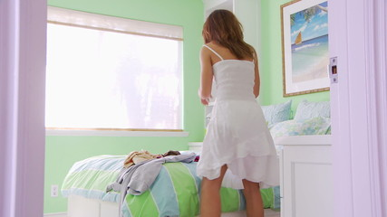 Young Woman Getting dressed