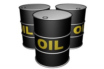 three oil barrels