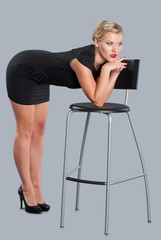 Beautiful Woman Posing with Chair