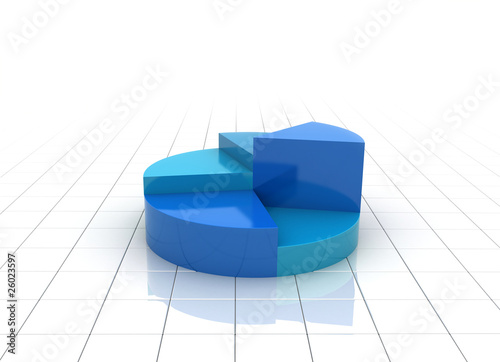 A blue 3d pie chart graph illustration